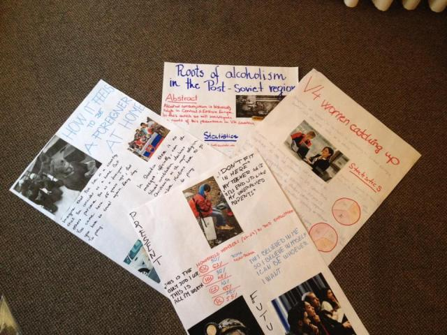 The posters from group work during Boba's workshop about media coverage of vulnerable groups in V4 countries.